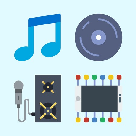 Icons set about Music with speaker, cd, compact disc, microphone, musical note and announcer