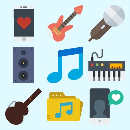 Icons set about Music with musical note, guitar protector, announcer, speaker, smartphone and piano