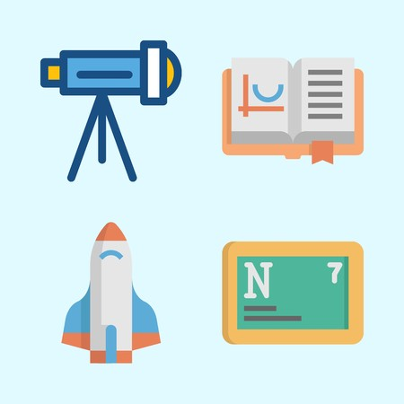Icons about Science with nitrogen, rocket ship, open book and telescope