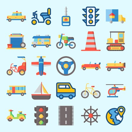 Icons set about Transportation with car, motorbike, taxi, traffic light, location and cone Vectores
