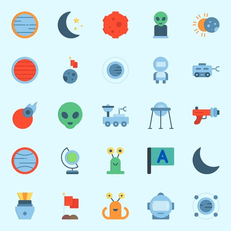 Icons set about Universe with uran, orbit, moon rover, moon, meteorite and comet