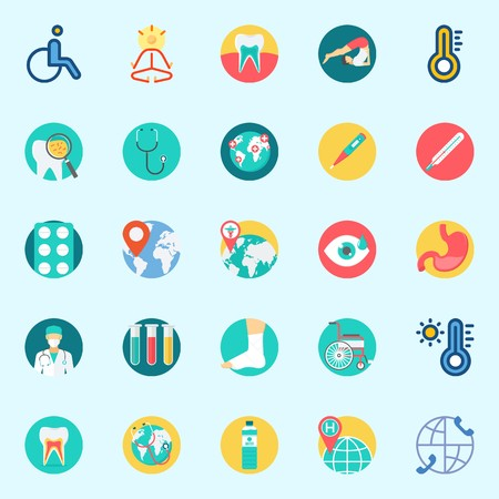Icons set about Medical with wheelchair, tablets, worldwide, thermometer, mystical and visibility