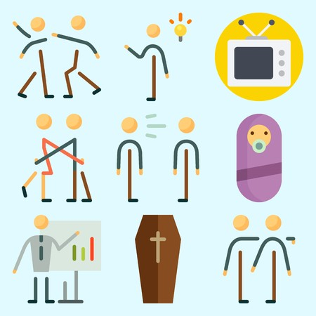 Icons set about Human with trust, ceo, hug, invention, scream and fight