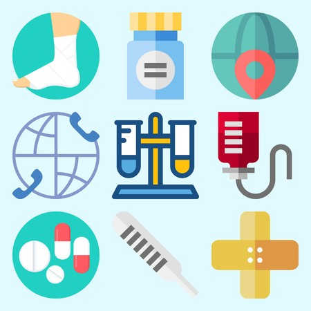 Icons set about Medical with test tube, band aid, pills, medicine, worldwide and sprain Illustration