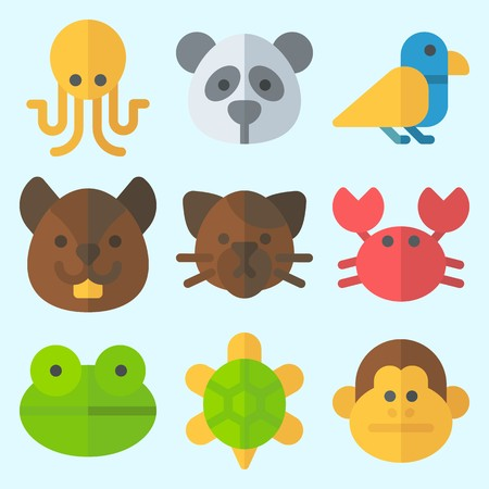 Icons set about Animals with squirrel, octobus, frog, crab, bird and monkey