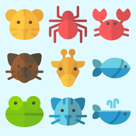 Icons set about Animals with spider, frog, whale, tiger, fish and cat