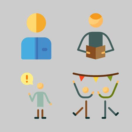 Icons set about Human with dancer, dancing, worker, male and reader