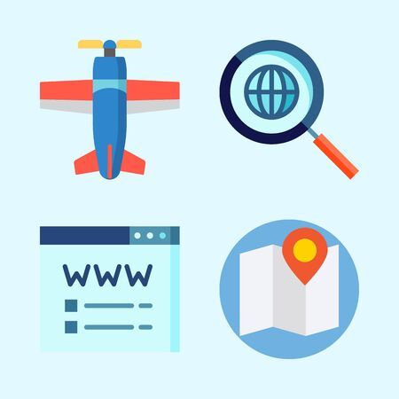 Icons set about Seo with search engine, map, domain registration and plane