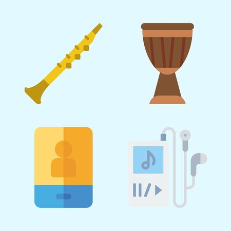 Icons set about Music with music player, drum, oboe and smartphone