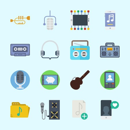 Icons about Music with cassette, microphone, music file, smartphone, guitar protector and headphones Çizim