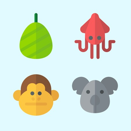Icons set about Animals with monkey, squid, cocoon and koala Çizim