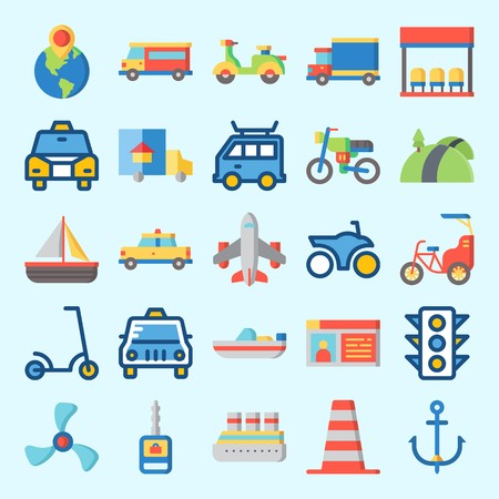 Icons set about Transportation with car key, van, bus stop, road, scooter and propeller