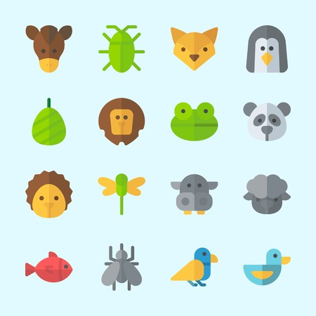 Icons about Animals with panda, fish, penguin, cockroach, hippopatamus and hedgehog