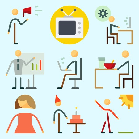 Icons set about Human with birthday boy, television, protest, programmer, ceo and femenine