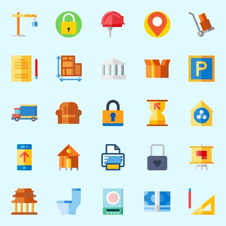 Icons about Real Assets with truck, plan, placeholder, up, studying and packaging