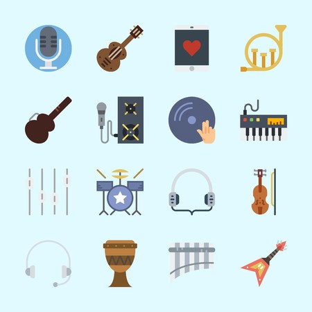 Icons about Music with headphone, smartphone, headphones, panpipe, speaker and microphone Illustration