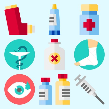 Icons set about Medical with inhaler, syringe, visibility, medicine, sprain and pharmacy
