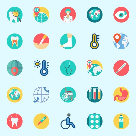 Icons set about Medical with tablets, worldwide, thermometer, location, tooth and surgery