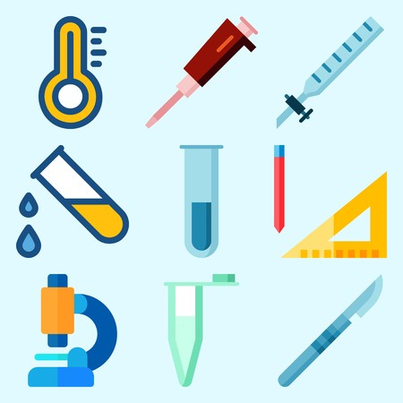 Icons set about Laboratory with thermometer, condenser, surgery, test tube, microscope and measuring