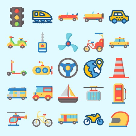 Icons set about Transportation with car, propeller, helicopter, cable car, taxi and train