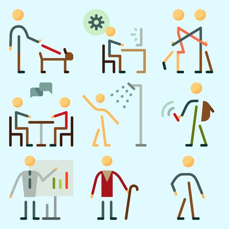Icons set about Human with ceo, hug, responsibility, chating, walker and whiteboard Illustration