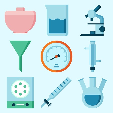 Icons set about Laboratory with measuring, kipps apparatus, condenser, trough, velocity and beaker Illusztráció