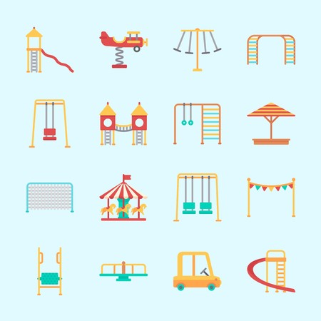 Icons about Amusement Park with playground, carrousel, slide, climbing, toy car and amusement park