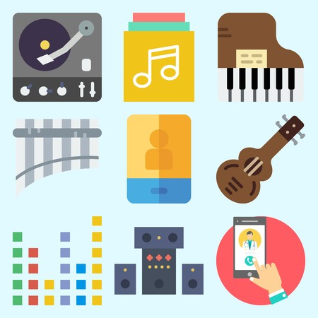 Icons set about Music with sound system, smartphone, piano, music album, sound bars and spanish guitar