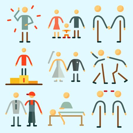 Icons set about Human with frienship, friend, friendly, massage, relaxing and fight