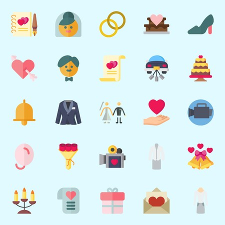 Icons set about Wedding with bow, bride, high heels, couple, wedding rings and candelabra