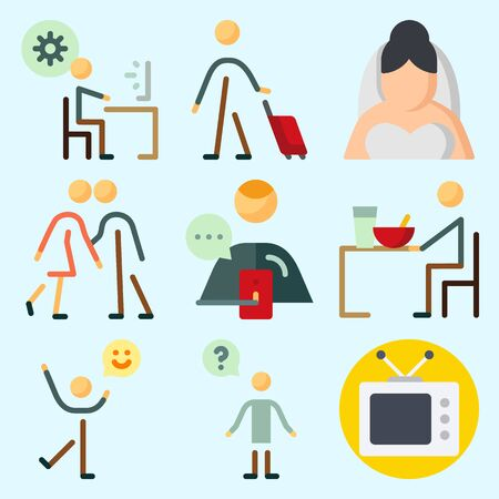 Icons set about Human with male, eather, programmer, happiness, couples and kissing Illustration