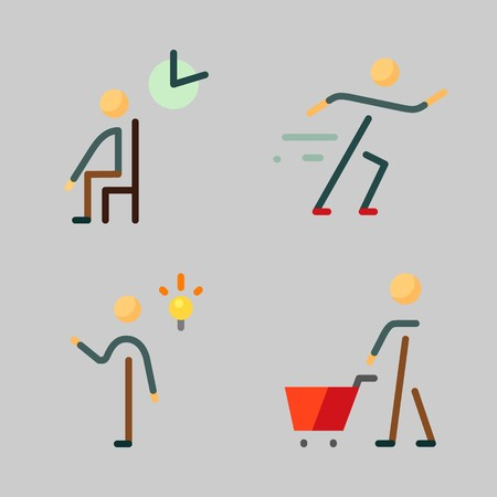 Icons set about Human with sportsman, shopping, waiting room and invention