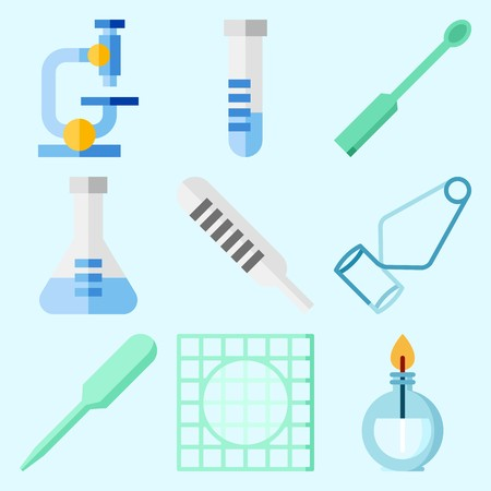 Icons set about Laboratory with dropper, lab, flask, microscope, thermometer and burner Çizim