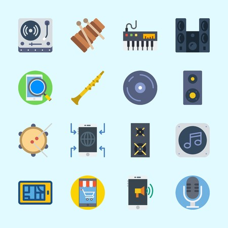 Icons about Music with cd, speaker, announcer, oboe, turntable and music file
