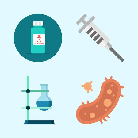 Icons about Science with poison, flask, syringe and bacteria