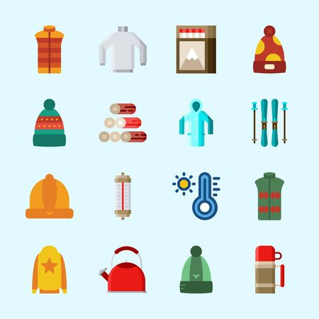 Icons about Winter with wood, winter hat, vest, kettle, matches and sweater Illustration