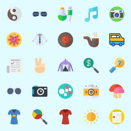 Icons set about Hippies with pills, vinyl, victory, photo camera, pipe and search