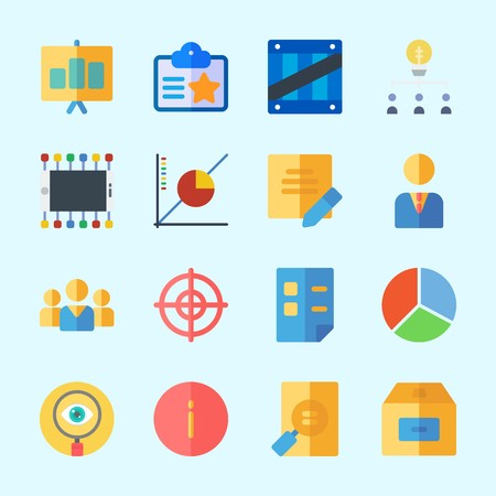 Icons about Business with target, file, pie chart, smartphone, search and teamwork