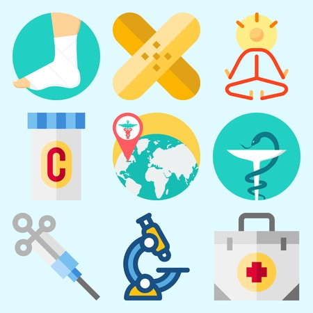 Icons set about Medical with yoga, patch, medicine, syringe, worldwide and pharmacy