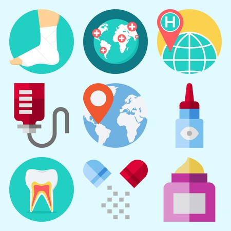 Icons set about Medical with eye drob, pills, location, worldwide, teeth and cream