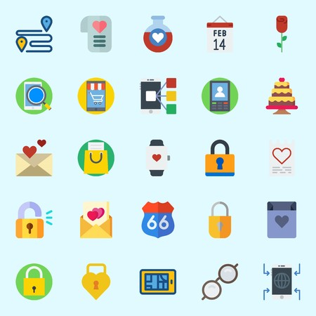 Icons about Romance Lifestyle with smartwatch, potion, love letter, padlock, route and shopping bag