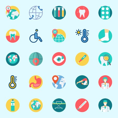 Icons set about Medical with tablets, test tubes, visibility, tooth, worldwide and teeth
