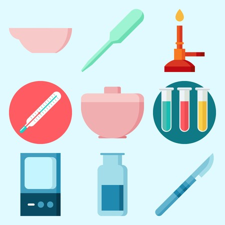 Icons set about Laboratory with gas jar, lab, thermometer, trough, surgery and dropper Illustration