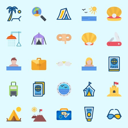 Icons set about Beach And Camping with suitcase, sand castle, bathing, sunbed, sunglasses and knife