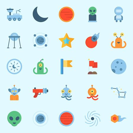 Icons set about Universe with astronaut, black hole, alien, mars, flag and moon rover