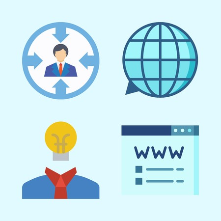 Icons set about Seo with translation, idea, target and domain registration Ilustrace