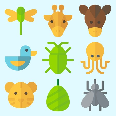 Icons set about Animals with horse, octobus, duck, tiger, dragonfly and giraffe