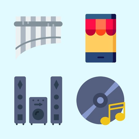Icons set about Music with panpipe, smartphone, compact disc, sound system and cd