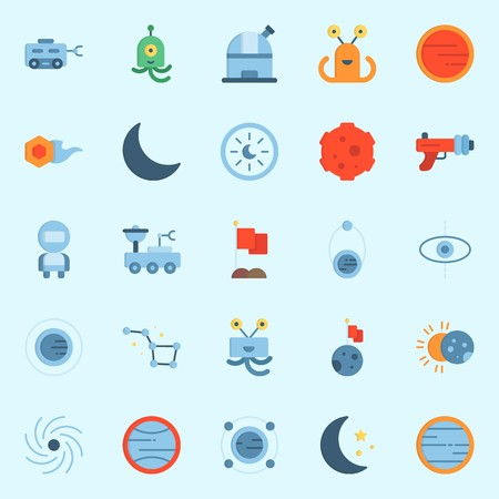 icons set about Universe. with uran, observatory, planet, moon, orbit and constellation Illustration