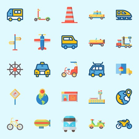 Icons set about Transportation. with bicycle, bike, truck, destination, van and motorbike